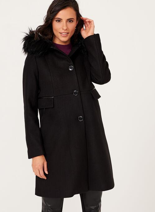 Hooded Wool Like Coat, Black, hi-res