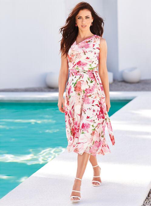 Floral Print Drape Front Midi Dress, White, hi-res