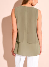 Sleeveless Capelet Blouse, Green, hi-res