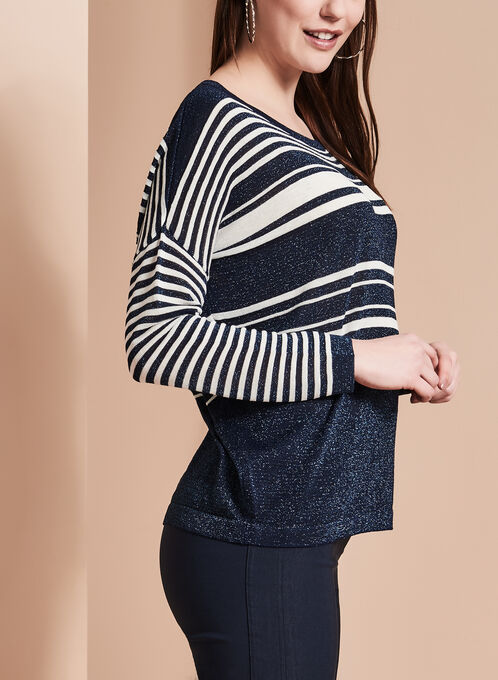 Striped Lurex Knit Sweater, Blue, hi-res