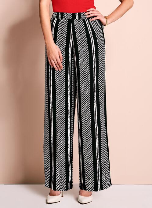 Pantalon à jambe large à rayures Linea Domani, Noir, hi-res