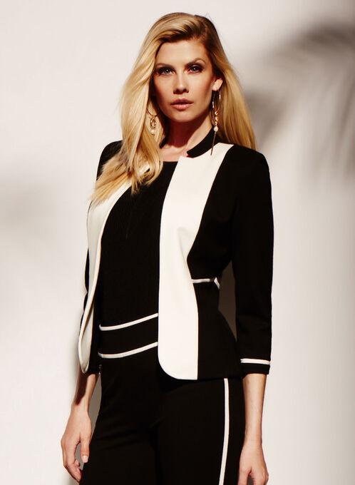 Colour Block Lapel Jacket, Black, hi-res