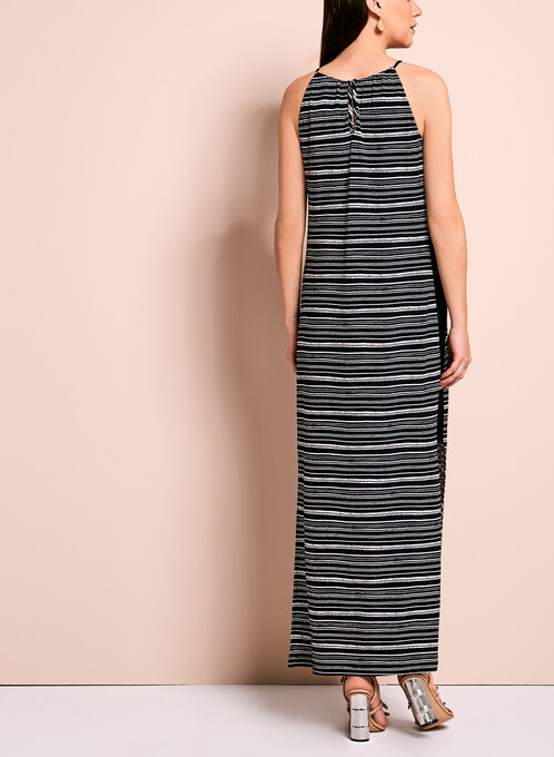 Stripe Print Jersey Maxi Dress, Black, hi-res