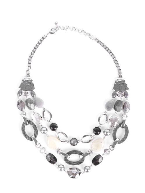 Triple Row Beaded Necklace, Grey, hi-res