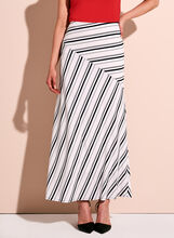 Graphic Stripe Print Maxi Skirt, White, hi-res