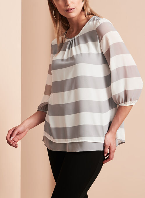 Double Layer Stripe Print Blouse, Grey, hi-res
