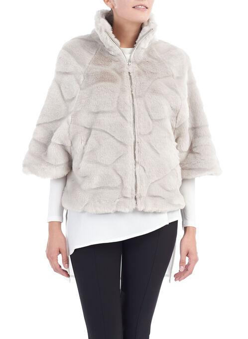 Faux Fur Stand Collar Jacket, Grey, hi-res