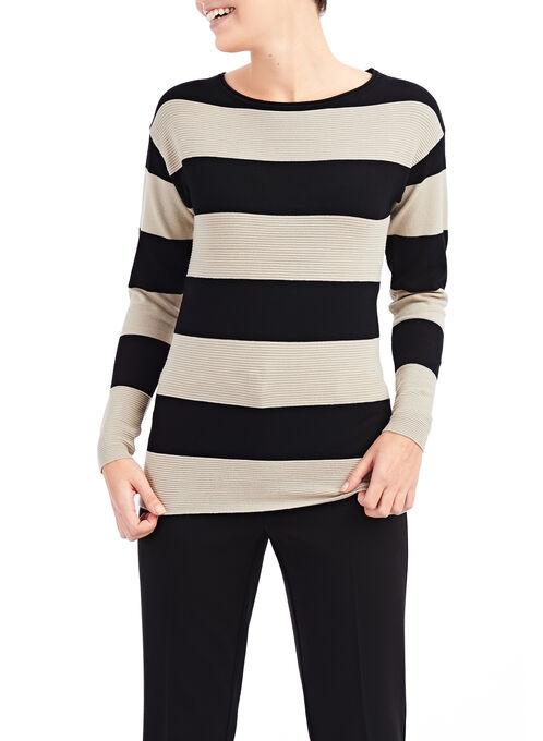 Ribbed Stripe Print Sweater, Black, hi-res
