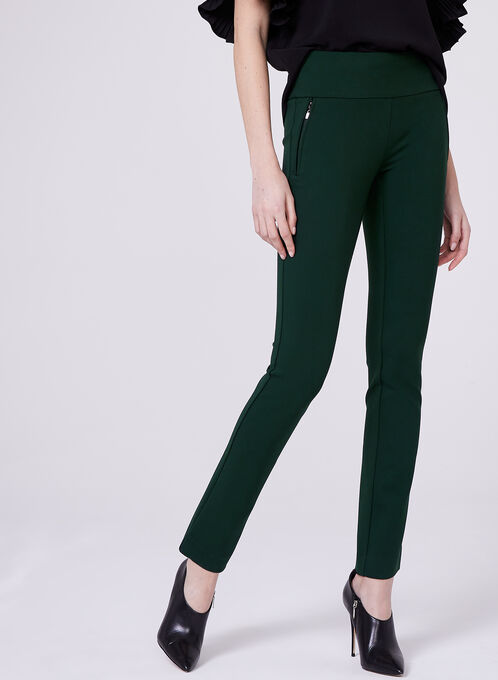 Madison Pull-On Slim Leg Pants, Green, hi-res