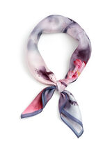 Floral Print Neckerchief, Grey, hi-res