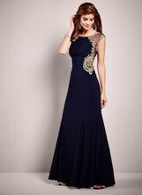 Embellished Mesh Trim Jersey Dress, Blue, hi-res