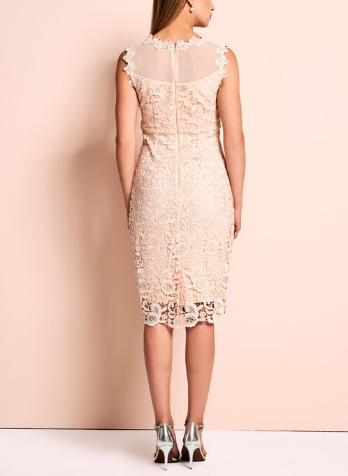Jax Floral Lace Mesh Sheath Dress, Pink, hi-res