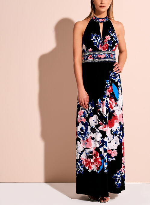 Floral Print Halter Neck Maxi Dress, Multi, hi-res