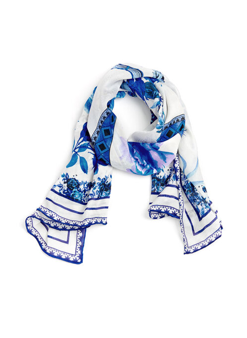 Foulard fleurs et poissons, Bleu, hi-res