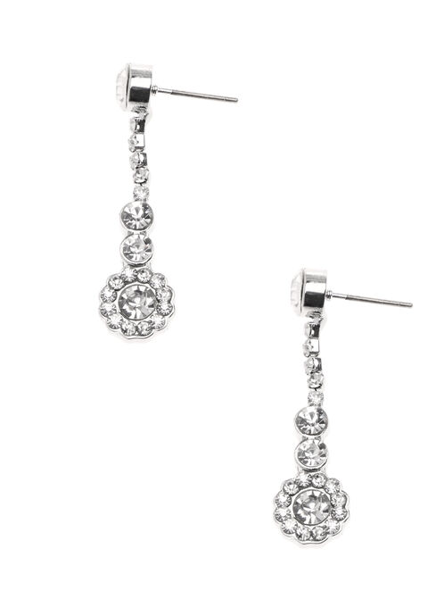 Crystal Dangle Earrings, Silver, hi-res