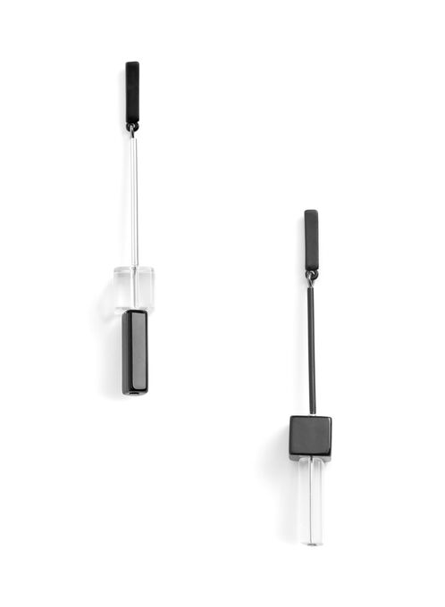 Linear Contrast Earrings, Black, hi-res