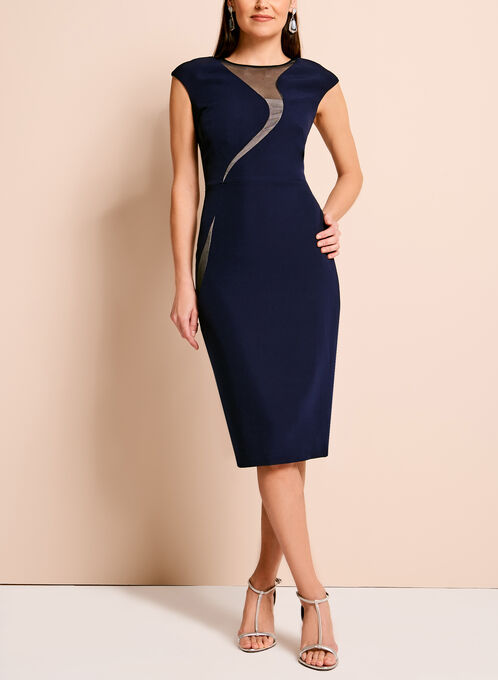 Jax Satin Mesh Sleeveless Dress, Blue, hi-res