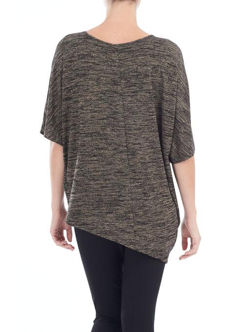 Short Sleeve Asymmetric Tunic Top, Black, hi-res