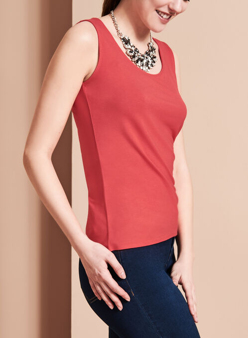 Sleeveless Scoop Neck Cami, Red, hi-res