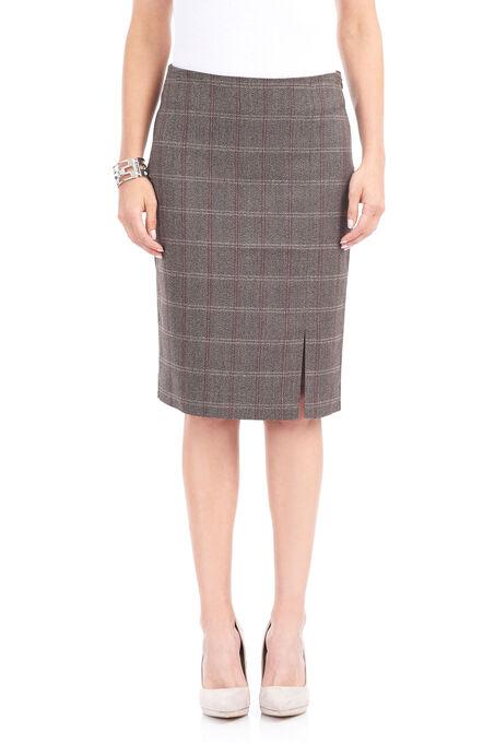 Side Slit Pencil Skirt, Brown, hi-res