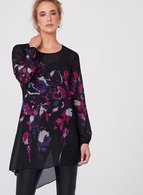 Floral Print High Low Blouse, Black, hi-res