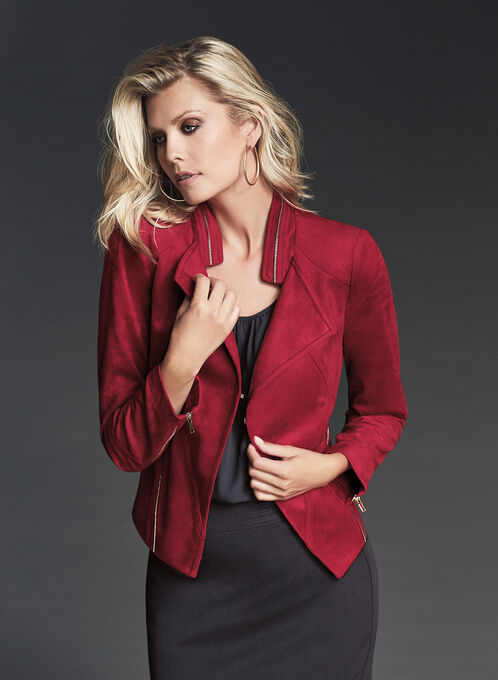 Vex Zipper Trim Faux Suede Jacket, Red, hi-res