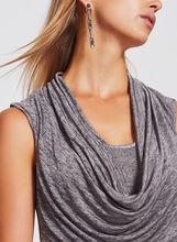 Sleeveless Drape Neck Top, Off White, hi-res