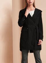 Novelti Belted Packable Trench Coat, Black, hi-res