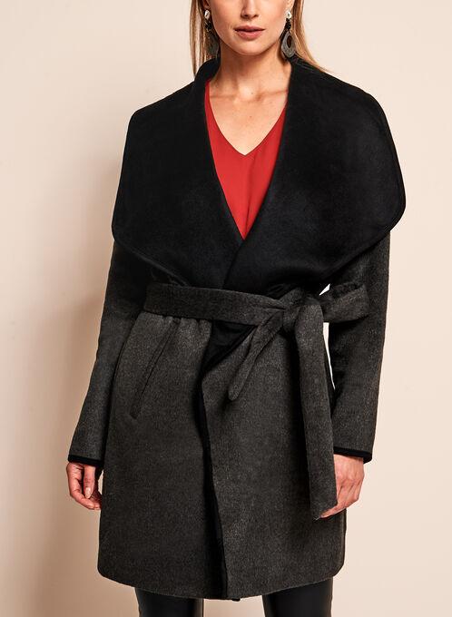 Double Face Wrap Coat, Grey, hi-res