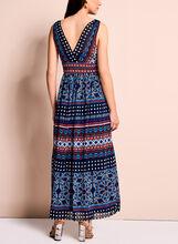 Moroccan Print Maxi Dress, Blue, hi-res