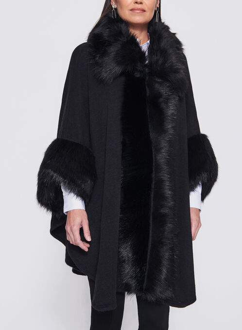 Faux Fur Trimmed Poncho, Black, hi-res