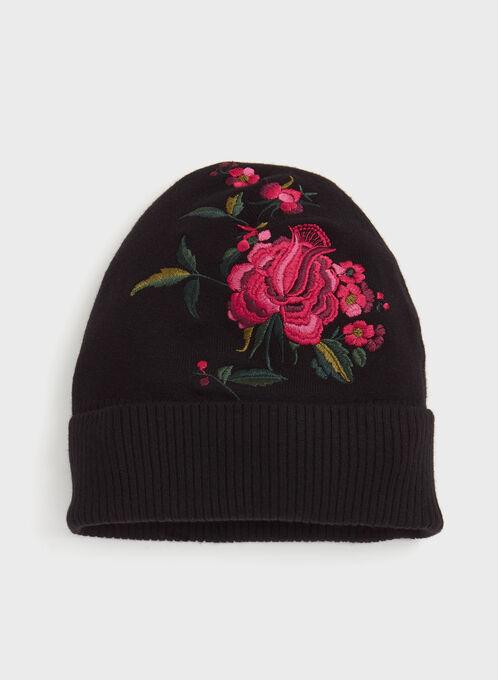 Floral Embroidered Knit Hat, Black, hi-res