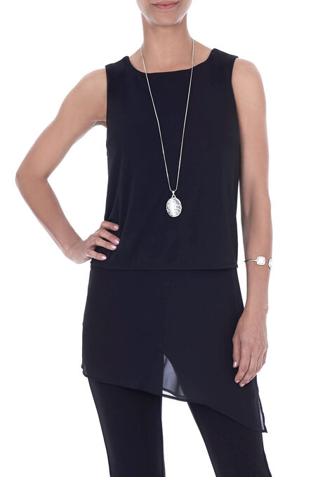 Sleeveless Chiffon Overlay Tunic Top, Black, hi-res