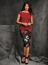 Floral Zipper Trim Pencil Skirt, Black, hi-res