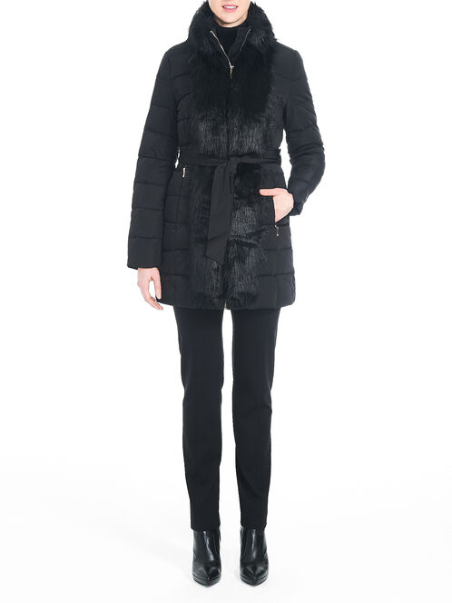Ivanka Trump Faux Fur Front Down-Filled Coat, Black, hi-res