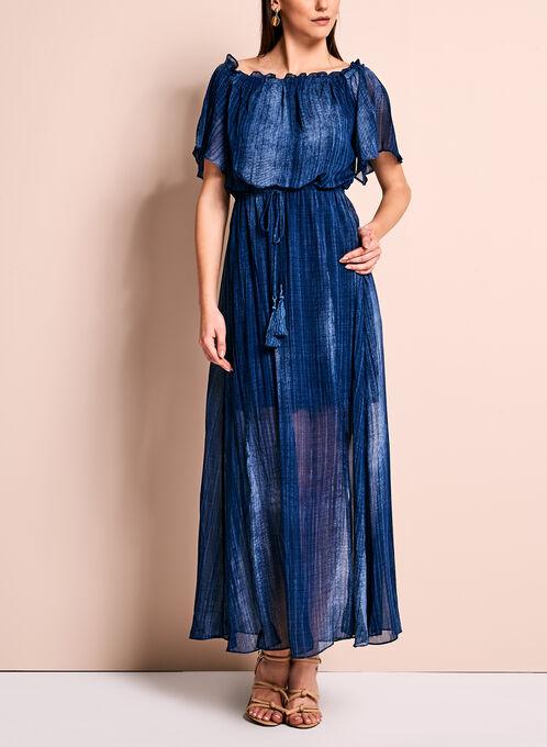 Maggy London Off The Shoulder Maxi Dress, Blue, hi-res