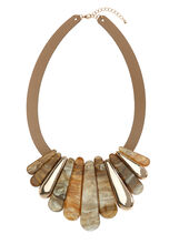 Shell Baguette Bib Necklace, Off White, hi-res