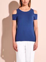 Crew Neck Cold Shoulder Top, , hi-res