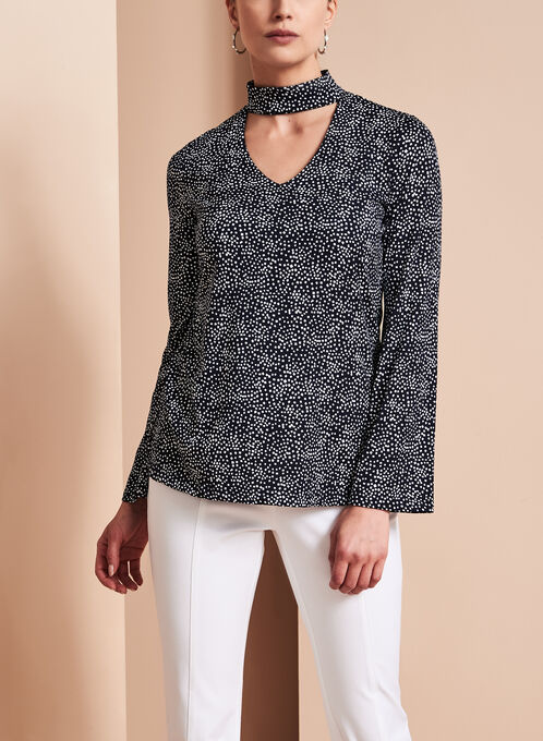 Geometric Dot Print Choker Blouse, Blue, hi-res