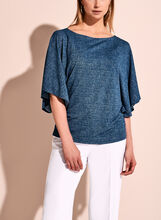 Crepe Batwing Sleeve Double Layer Top, Blue, hi-res