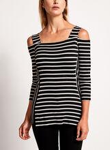 Cold Shoulder Stripe Print Top, , hi-res