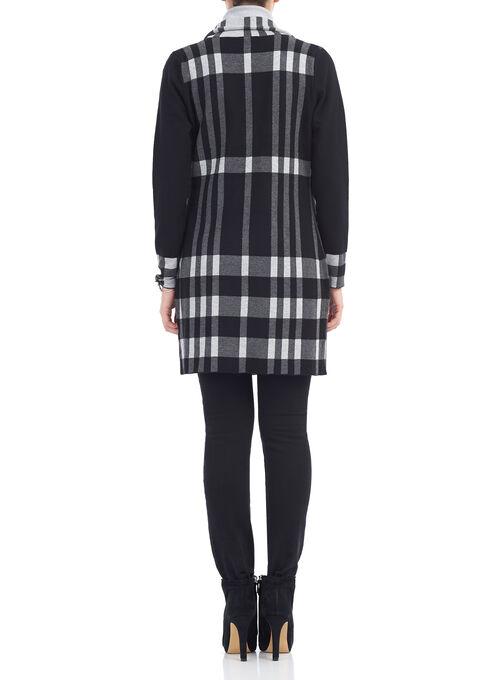 Long Sleeve Knit Plaid Cardigan, Black, hi-res