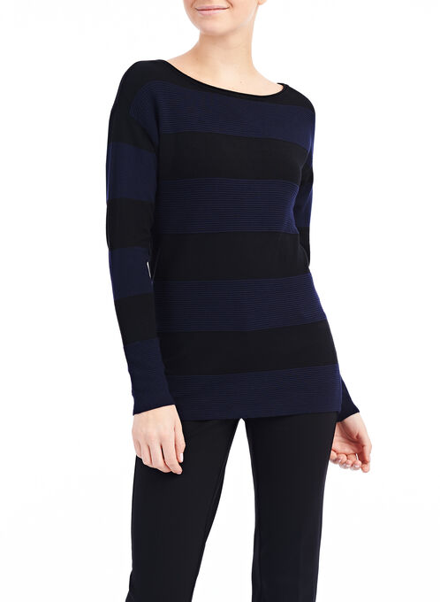 Ottoman Ribbed Sweater, Black, hi-res