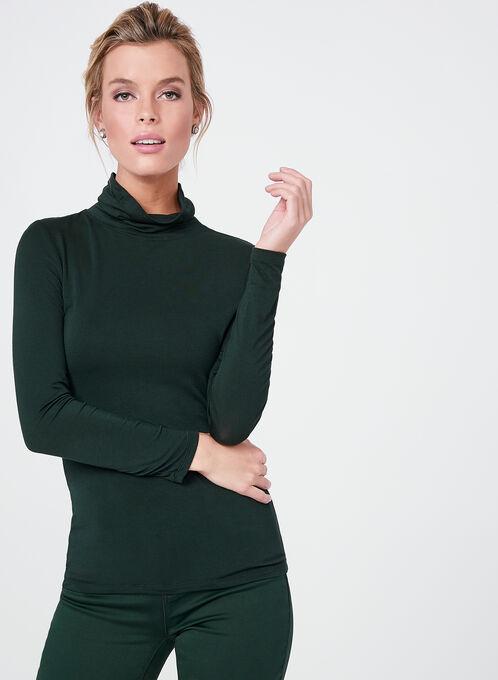 Vex - T-shirt manches longues et col roulé en modal, Vert, hi-res