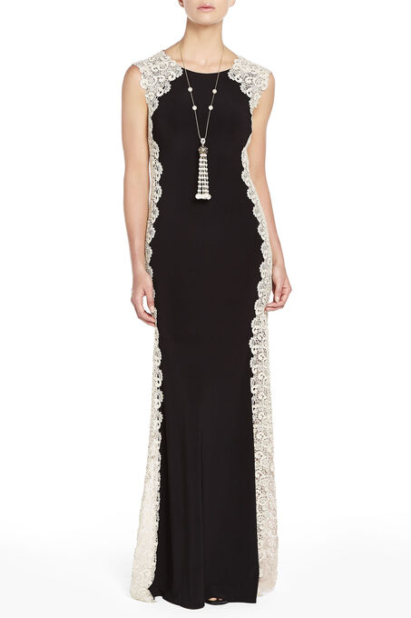 Jersey Lace Panel Gown, Black, hi-res