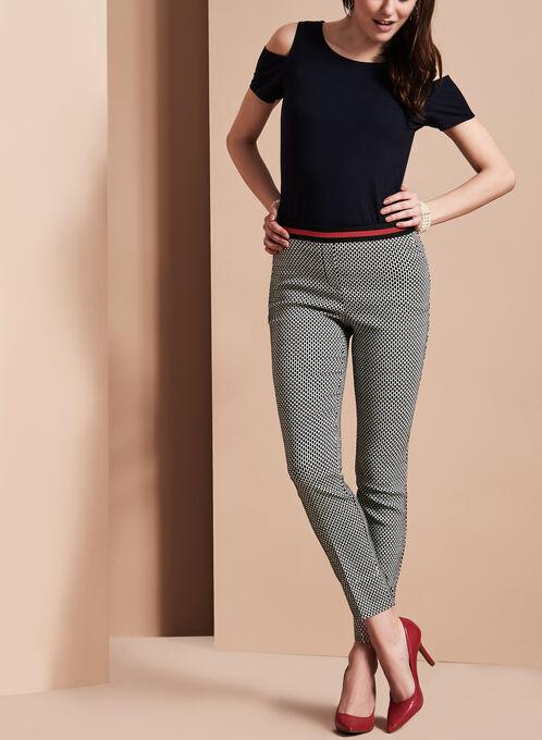 Pantalon en motif jacquard à jambe étroite , Noir, hi-res