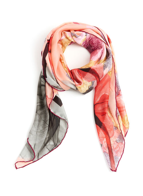 Floral Lace Print Scarf, Pink, hi-res
