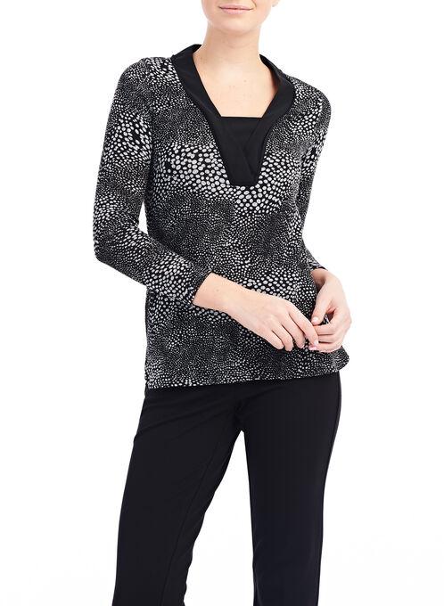 Long Sleeve Woven Blouse, Black, hi-res