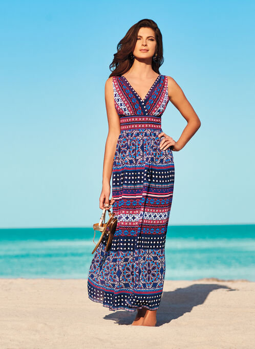 Maggy London Moroccan Print Maxi Dress, Blue, hi-res