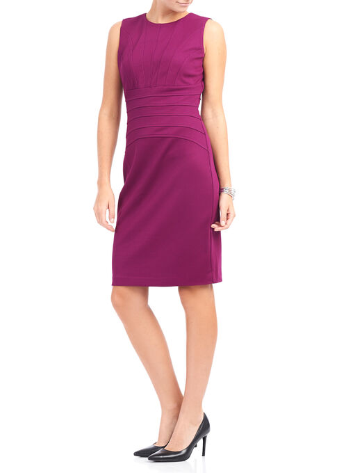 Ivanka Trump Sleeveless Scuba Dress , Red, hi-res